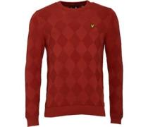 Herren Textured Argyle 7GG Pullover mit Rundhalsausschnitt Ziegelrot
