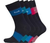 Mens 5 Pack Socks Heather/Jester Red/Tide/Colbolt