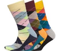 Herren Drei Pack Argyle Socken Mehrfarbig