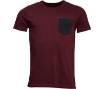 Herren Contrast T-Shirt Burgunderrot