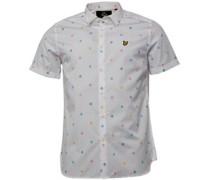 Herren Micro Print Poplin Hemd mit langem Arm Weiß
