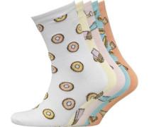 Damen Fries Print Fünf Pack Socken Mehrfarbig
