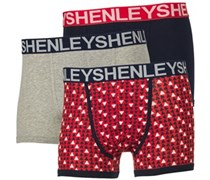 Henleys Herren Three Pack Print Boxershorts in lose Passform Navy