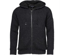 Firetrap Mens Zip Through Poly Hooded Quilt Knit Black