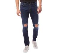 Herren Acton Ripped Skinny Jeans Denimmeliert Blau