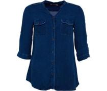 Damen 3/4 Bluse mit langem Arm Mittelblau