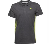 Herren Essentials Mid 3 Stripe ClimaLite Polohemd Graumeliert