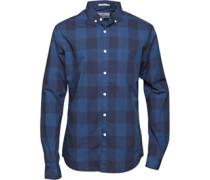 Crosshatch Herren Wently Hemd mit langem Arm Blau