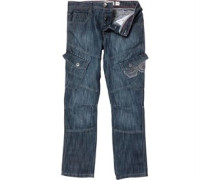 Herren Cargo 16 wash Jeans in regulär Passform Blau