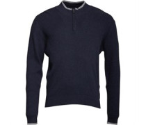 Mens 1/4 Zip High Neck Knit Top Dark Blue Marl
