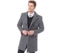 Herren Long Boucle Jacke Graumeliert