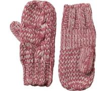 Damen Cable Mitten Handschuhe Rosa