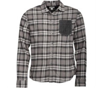 Mens Heavy Flannel Contrast Pocket Checked Long Sleeve Shirt Charcoal Grey