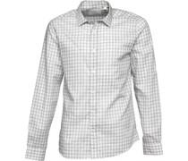 Herren Textured Gingham Poplin Hemd mit langem Arm Grau