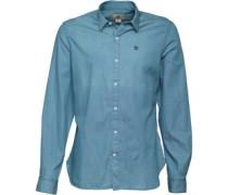 Herren Provincetown Chamy Hemd mit langem Arm Blau