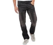 Herren Kractus Utility Jeans in Slim Passform Schwarz