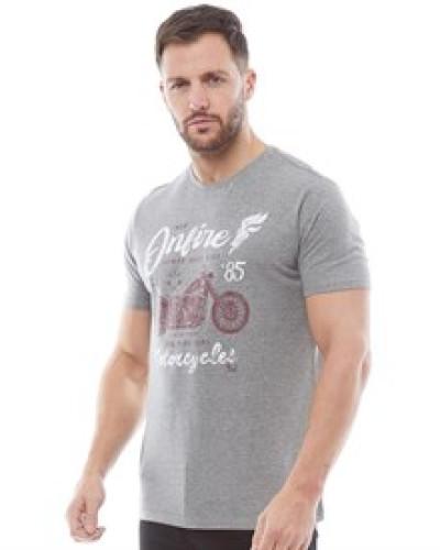 Druck T-Shirt Graumeliert