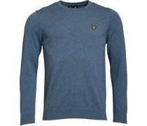 Herren Baumwolle Merino 12 GG Pullover mit Rundhalsausschnitt Blaumeliert