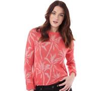 Damen Palm Print Slouch Pullover mit Rundhalsausschnitt Rosa