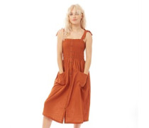 Victo Button Through Kleid Rostbraun