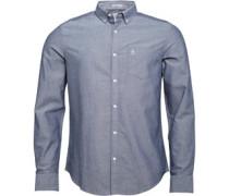 Herren Brushed Oxford Sapphire Hemd mit langem Arm Blau
