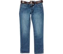 Firetrap Herren Gambit Aged Jeans mit geradem Bein Blau
