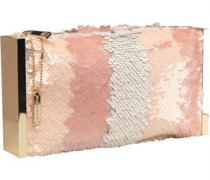 Glamorous Womens Clutch Bag Nude Sequin