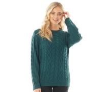 Cable Pullover mit Rundhalsausschnitt grün