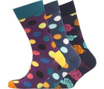 Herren Drei Pack Spotty And Floral Socken Mehrfarbig