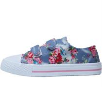 Mädchen Velcro Fastening Floral Print Freizeit Schuhe Blau