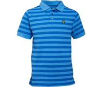 Boys Fine Stripe Polo Harbour Blue