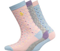 Original Penguin Womens 3 Pack Socks Mini Dot/Diamond Pink