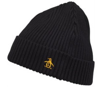 Original Penguin Mens Basic Rib Beanie Black/Gold