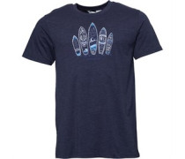 Surf Board Druck T-Shirt Denimmeliert