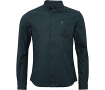 Farah Vintage Herren Hambleton Hemd Mit Langem Arm Blaugrün