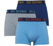 Ben Sherman Mens Robert Three Pack Boxers Denim/Indigo/Grey