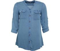 Damen 3/4 Bluse mit langem Arm Blau
