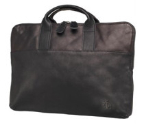 Lyle And Scott Vintage Mens Leather Laptop Bag True Black