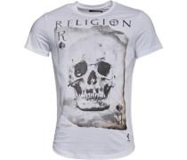 Herren Skull Card T-Shirt Weiß