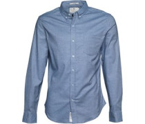 Crosshatch Herren Almond Hemd mit langem Arm Blau