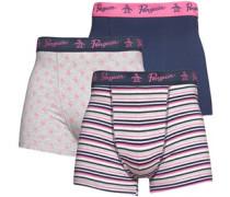 Herren 3er Pack Penguin Streifen Boxers Navy/Pink