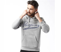 Original Penguin Mens Printed Oth Logo Hoody Rain Heather