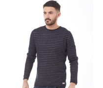ONLY & SONS Mens Double Layer Stripe Knit Dark Navy
