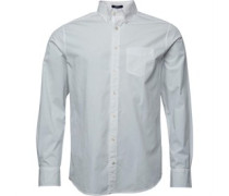 Herren Solid Broadcloth Reg Fit Hemd mit langem Arm Weiß