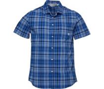 Stretch Karo Hemd mit kurzem Arm Blau