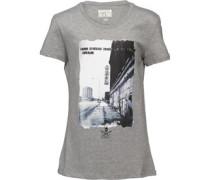 Damen Never Give Up Graphic T-Shirt Grau