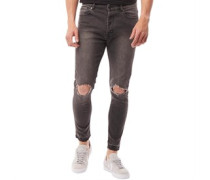 Herren Jones Ripped Skinny Jeans Schwarz