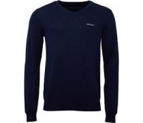 HACKETT Mens V Neck Brushed Cotton Sweater Atlantic