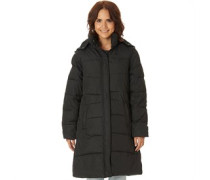 Trespass Womens Silent Padded Hooded Long Jacket Black