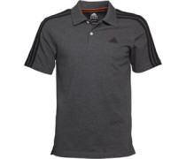 adidas Mens Essentials 3 Stripe Climalite Polo Dark Grey Heather/Black